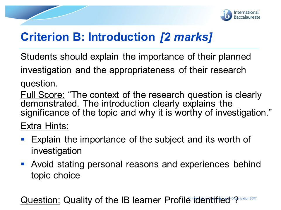 Criterion B: Introduction [2 marks]